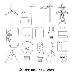 villanyáram, energia, erő, ikonok