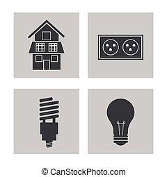 villanyáram, energia, gyűjtés, erő, ikonok