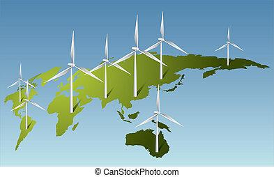 villanyáram, földdel feltölt, kivált, turbines, felteker