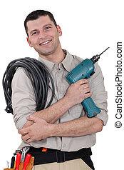 villanyszerelő, fúr, kábel