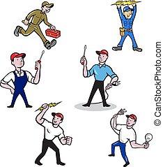 villanyszerelő, karikatúra, állhatatos