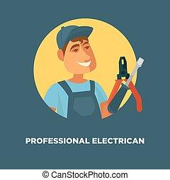 villanyszerelő, szolgáltatás, poszter, egyenruha, profi, ...