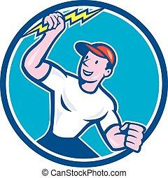 villanyszerelő, villámlás elzár, birtok, karika, karikatúra