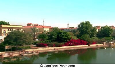 villas, arabe, îles, uni, vue, aérien, jumeirah, luxe, emirats, dubai