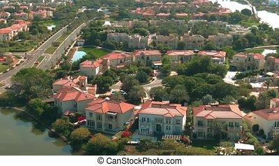 villas, arabe, îles, uni, vue, communauté, aérien, jumeirah, luxe, emirats, dubai