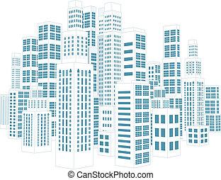 ville, à, bâtiments, et, skyscrapers.