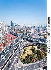 ville, échange, viaducts