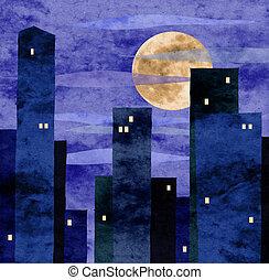 ville, éclairé par la lune