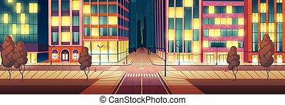 ville, éclairé, vecteur, rue, route, nuit, vide