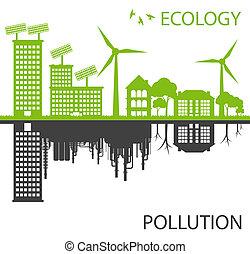 ville, écologie, contre, vecteur, vert, pollution