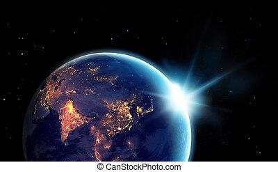 ville, éléments, meublé, ceci, soleil, image, planète, lumières, nasa, nuit, la terre, levée