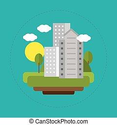 ville, énergie, paysage, solaire