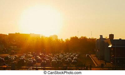 ville, été, centre commercial, voitures, timelapse, coucher soleil, stationnement, marché