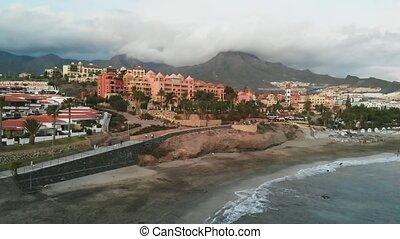 ville, île, sommet, tenerife, coucher soleil, espagnol, petit, espagne, vue