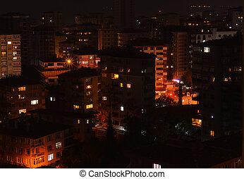ville, aérien, district, istanbul, nuit, kadikoy, vue