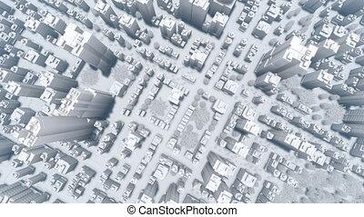 ville, aérien, grand, résumé, moderne, 4k, blanc, vue