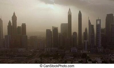 ville, aérien, gratte-ciel, grand, rues, silhouettes, vue, épique, uae, dubai, sunset.