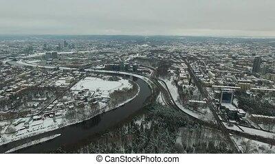 ville, aérien, hiver, sur, rivière, 4, vue