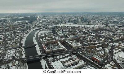ville, aérien, hiver, sur, rivière, vue