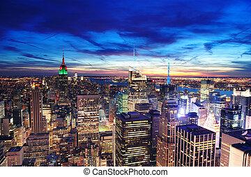 ville, aérien, horizon, york, nouveau, manhattan, vue