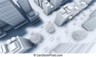 ville, aérien, moderne, rue, trafic, 4k, vue