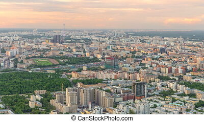 ville, aérien, observation, formulaire, sommet, timelapse, business, plate-forme, vue, city., sunset., moscou, centre