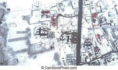 ville, aérien, oriental, vue dessus, neige, bas, typique, européen