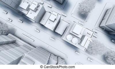 ville, aérien, résumé, rues, 4k, blanc, vue