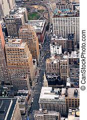 ville, aérien, rue,  York, nouveau,  Manhattan, vue