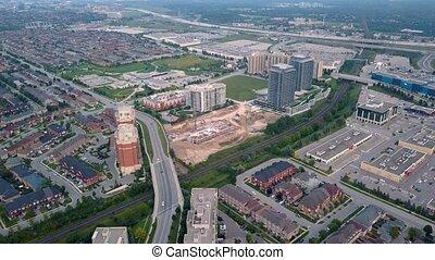 ville, aérien, secteur, résidentiel, 4k, vue