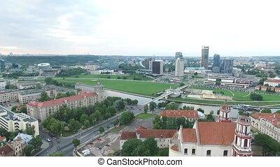ville, aérien, sur, 2, rivière, vue