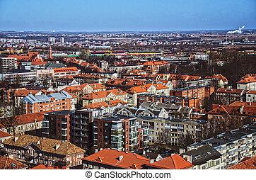 ville, aérien, vue