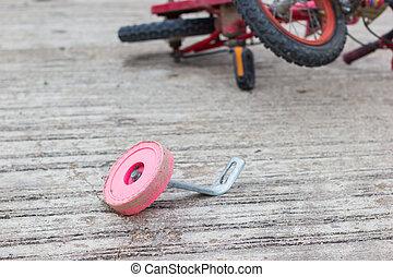 ville, accident, vélo, photo, rue, closeup, horizontal, enfants