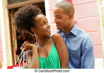 ville, achats, couple, américain, africaine, portrait, panama