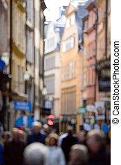 ville, achats, foule, gens