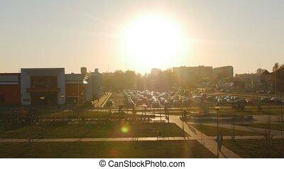 ville, achats, voitures, dehors, supermarché, centre commercial, stationnement, hypermarché, ou