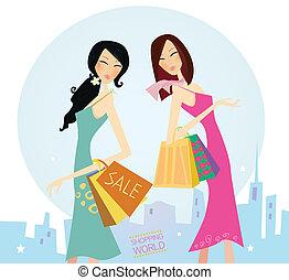 ville, achats, womans