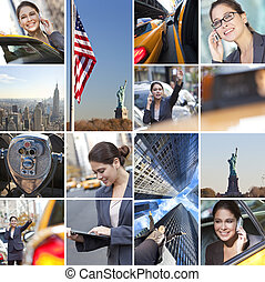 ville, affaires femme, téléphone, york, nouveau