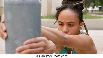 ville, africaine, vue, exercisme, américain, 4k, femme, devant, jeune