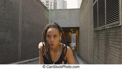 ville, africaine, vue, jogging, américain, 4k, femme, devant