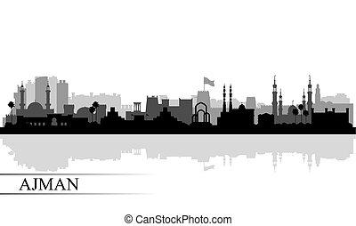 ville, ajman, silhouette, horizon, fond