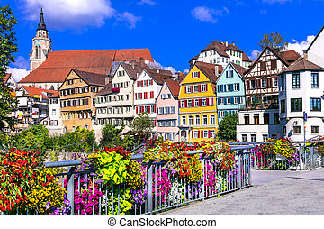 ville, allemagne, floral, coloré, tubingen, beau, (baden-wurttemberg)