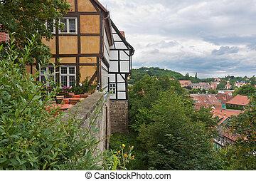ville, allemagne, moyen-âge, quedlinburg
