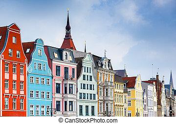 ville, allemagne, rostock, vieux, cityscape.
