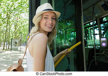 ville, aller, autour de, passagers, autobus