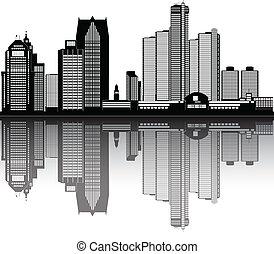 ville, américain, horizon, détroit