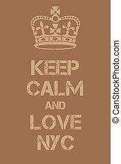 ville, amour, affiche, garder, york, nouveau, calme
