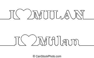ville, amour, nom, italy., milan., ligne, contour