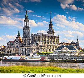 ville, ancien, centre, dresde, culturel, historique, europe., germany.