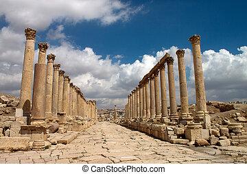 ville, ancien, jerash., gera, jordanie, greco-romain, ruines